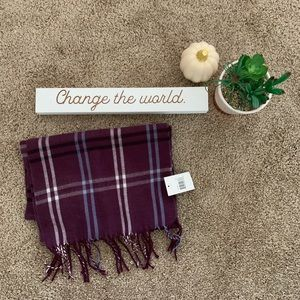 Cejon Purple Plaid Fringe Scarf- Made in Italy
